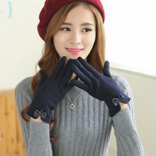 韩款手16女冬季可爱nu车分指触屏棉手套加绒加厚骑车手套学生