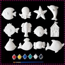 宝宝涂18玩具石膏娃mt亲子彩绘幼儿园益智手工白模填色陶瓷画
