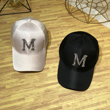 鸭舌帽1bns韩款潮1t尚镶钻宽檐棒球帽女士百搭丝光遮阳帽子女