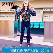 欧洲站1b021秋季ss牌女金丝绒两件套洋气时尚运动休闲显瘦套装