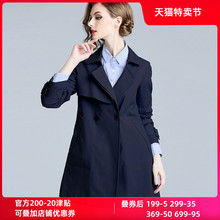 香衣丽1b2021春ss女装藏青色修身显瘦(小)个子短式外套风衣女