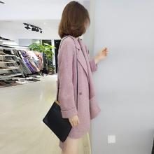 欧洲站1d装女202jx欧货韩款的字纹系带中长式粉色毛呢外套