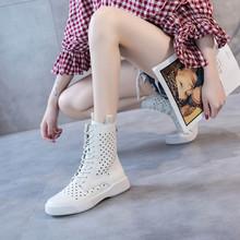 2021g春夏新式透yw女马丁靴平底女短靴真皮女靴子洞洞凉靴女夏