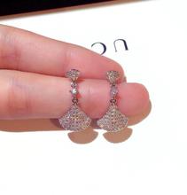 新式时1m韩国银针耳io镶水钻气质百搭耳钉耳坠女潮无耳洞