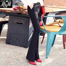 坠感微1n叭女裤202w季新式高腰西裤显瘦阔腿裤黑色休闲长裤子