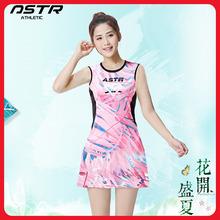 羽毛球1n0无袖连衣2w恤团购比赛速干韩国女大码网球定制队服