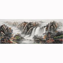 (小)六尺无式山水画手绘国画中式客厅玄1n14字画装2w0405