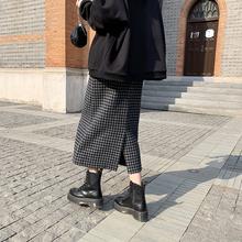 JHX1o 开叉毛呢o9女高腰2020秋冬新式中长式包臀裙显瘦一步裙