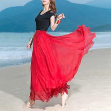 新品81o大摆双层高oi雪纺半身裙波西米亚跳舞长裙仙女沙滩裙