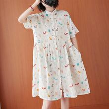 2021r夏季新式文r7松大码棉麻卡通衬衫裙立领气质显瘦连衣裙女