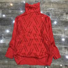 欧洲站1r019冬季zp装重工亮钻高领长袖舒适潮流针织衫套头毛衣