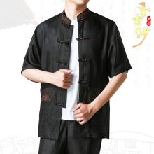 夏季中1s男式短袖真al桑蚕丝刺绣唐装上衣中式休闲香云纱衬衣