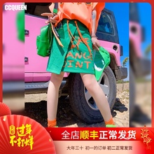 Ccq1seen半身yq20夏季新式不对称拼接学生休闲网红cec运动风短裙