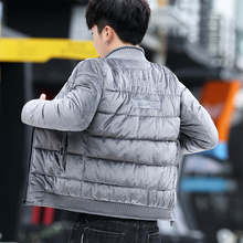 2021u冬季棉服男np新式羽绒棒球领修身短式金丝绒男式棉袄子潮