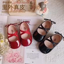 真皮女23宝(小)皮鞋儿15鞋 2021时尚漆皮蝴蝶结0-3岁公主单鞋