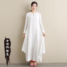 亚麻女232020新zo古风连衣裙民族风格女装复古棉麻改良旗袍裙