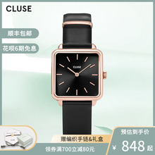 CLU2lE手表女ilk情侣手表女学生防水牛皮(小)方表简约气质手表女