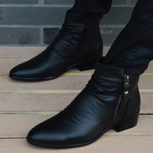 英伦高2s皮鞋男士韩bb内增高尖头皮靴时尚男鞋休闲鞋马丁靴男