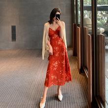 碎花抹2sV领连衣裙hh式复古流行超仙雪纺印花吊带裙