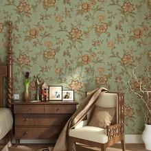 床头背景墙纸 美式复古花纹田园乡
