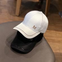 2022x新式帽子女iu搭M标水钻棒球帽春夏天户外遮阳防晒