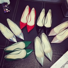 2022x新式银色细xj高跟鞋真皮中跟低跟猫跟单鞋女红色婚鞋5cm