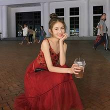 梅子熟了 文艺法式复古绣花吊3611裙拼接bu女春夏吸睛长裙