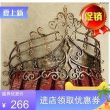 厂家直36欧式复古金bu皇冠公主女皇铁艺床幔架床头架睡帘架
