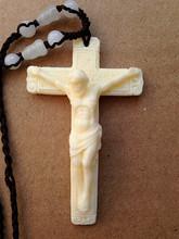 正品保36象牙白牦牛bu十字架耶稣挂件饰品吊坠项链男女士日韩