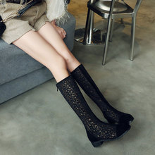 20241春季新式透hu网靴百搭黑色高筒靴低跟夏季女靴大码40-43