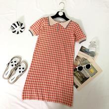 2014g流行夏天裙gj的法国(小)众复古Polo领短袖格子针织连衣裙女