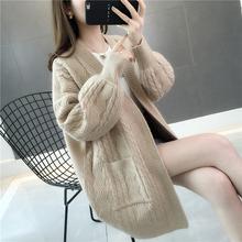 中长式4r色针织衫女ri020秋季新式女装宽松麻花慵懒风毛衣外套