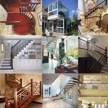 北京实4r楼梯钢木铁ri橡胶木红橡踏板别墅阁楼梯翻新