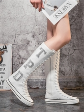 亮片长55帆布鞋女靴la女鞋高筒板鞋拉链内ins潮(小)白大码