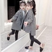 女童毛55大衣宝宝呢5s2021新式洋气春秋装韩款12岁加厚大童装