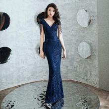 晚礼服59宴会气质2li新式高端名媛主持的长式鱼尾裙修身气场女王