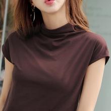 20259年新式春夏9m领短袖t恤女纯棉宽松大码纯色半袖打底上衣