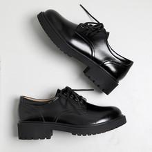 黑色(小)5b鞋女英伦女oy学院风ins森系真皮单鞋厚底复古学生鞋