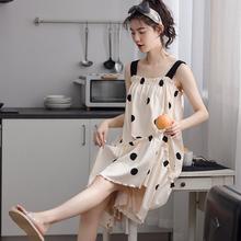 睡裙女5d季薄式吊带khMM背心宽松大码孕妇性感可爱夏天睡衣式