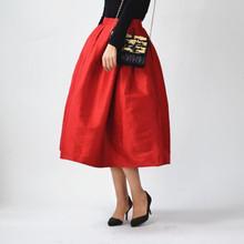 纯色中5t式高腰复古5q身裙伞裙夏秋装新式赫本松紧腰