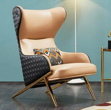 单的沙5t轻奢后现代jt阳台卧室高靠背老虎椅真皮休闲懒的沙发椅
