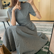 短袖格5t气质法式桔jt中长式轻熟风连衣裙子2020年夏天新式女