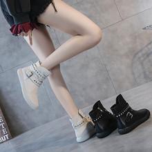欧洲站5t钉牛皮女鞋jt0新式女靴子秋季短靴平底真皮高帮马丁靴夏