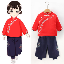 女童汉5v冬装中国风vn宝宝唐装加厚棉袄过年衣服宝宝新年套装