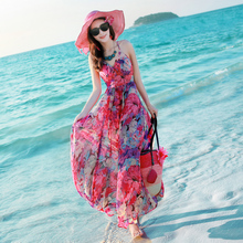 夏季泰5v女装露背吊vn雪纺连衣裙波西米亚长裙海边度假