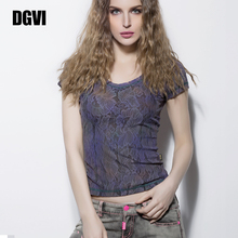 DGV5y紫色蕾丝Ty12021夏季新式时尚欧美风薄式透气短袖上衣