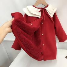 2025z新婴童装红z4节过年装女宝宝荷叶领呢子外套加绒宝宝大衣