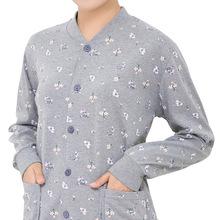 中老年6f衣女妈妈开6l开扣棉毛衫老年的大码对襟开身内衣线衣