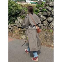 春装风6g女韩款20gs松长式过膝卡其色外套休闲大码长袖