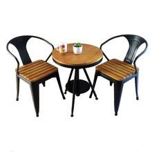 塑木阳78桌椅三件套8f木防腐木酒吧休闲咖啡厅奶茶店桌椅组合